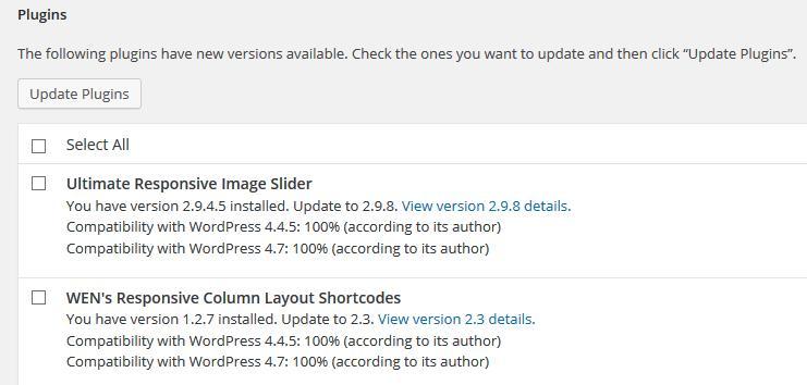 Plugin updates available
