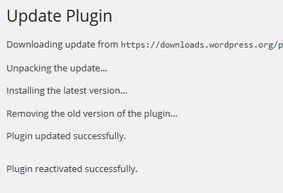 Plugin update status