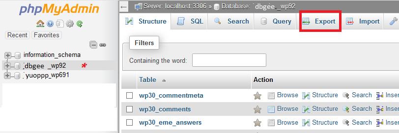PHP MyAdmin view